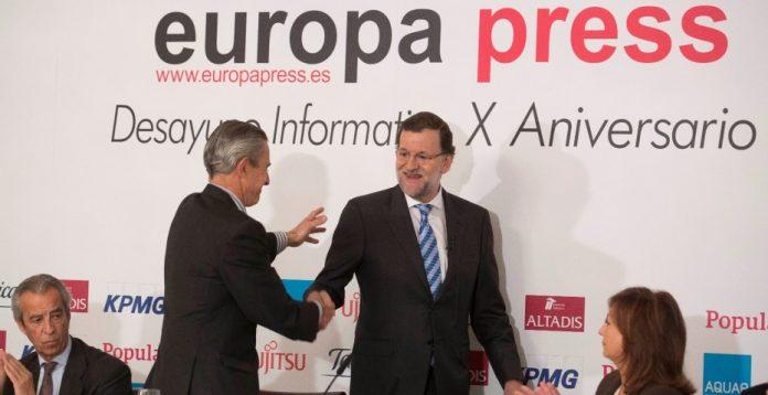 Rajoy, durante el desayuno organizado por la agencia Europa Press