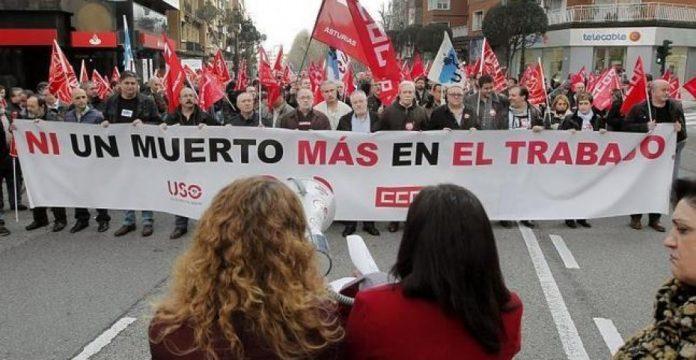 Manifestación sindical contra la siniestralidad laboral