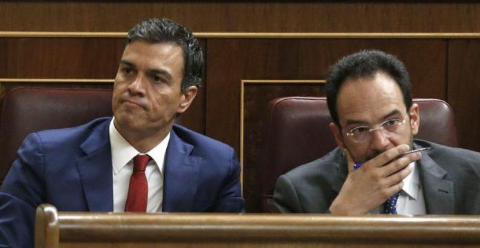 Los socialistas Pedro Sánchez y Antonio Hernando escuchan la intervención de Montoro.