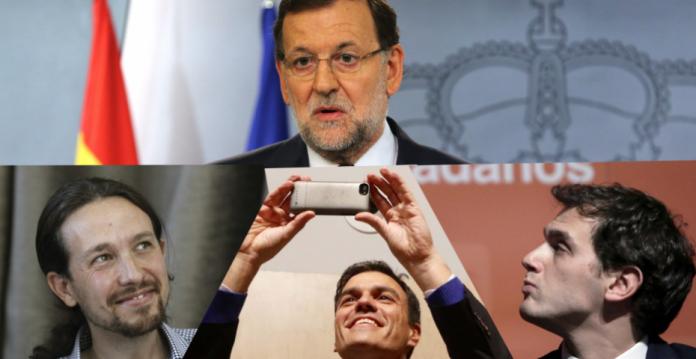 Los candidatos presidenciales de PP, Podemos, PSOE y Ciudadanos.
