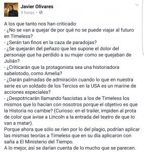 Javier Olivares critica Timeless